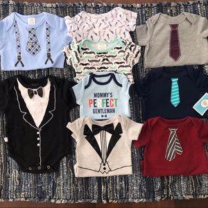 Baby Boy Onsie Lot Dressy Gentleman Suit Tie & Tux